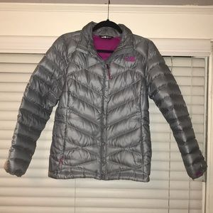 Gray North Face Puffer Jacket